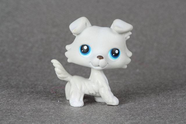 Mascota adorable Colección LPS #363 Gris Claro Azul Ojos Collie Perro juguetes de Niña