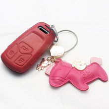 Soft Leather Car Auto key case For AUDI A5 S5 Q7 A4 A4L TT TTS 2015-2017 Cover protect shell CAR keychain