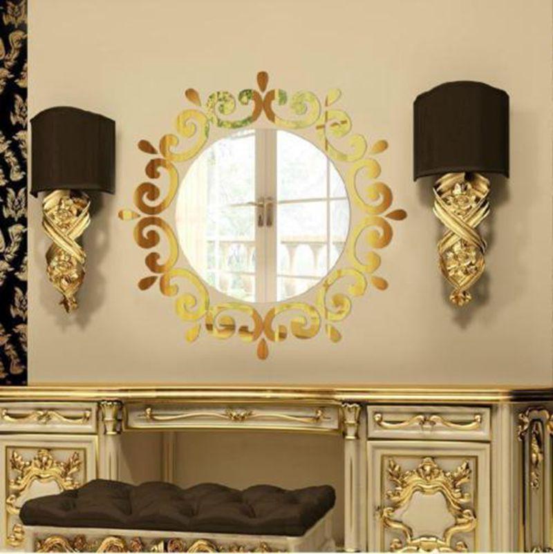 1pc Acrylic Silver 3D Circular Mirror Wall Stickers Home Decor ...