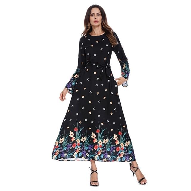 740bc0a5ae O Neck Self Belt Flare Sleeve Elegant Long Abaya Women Floral Print Muslim  Dress Turkish Dubai Sashes Dress Female Clothing 2XL