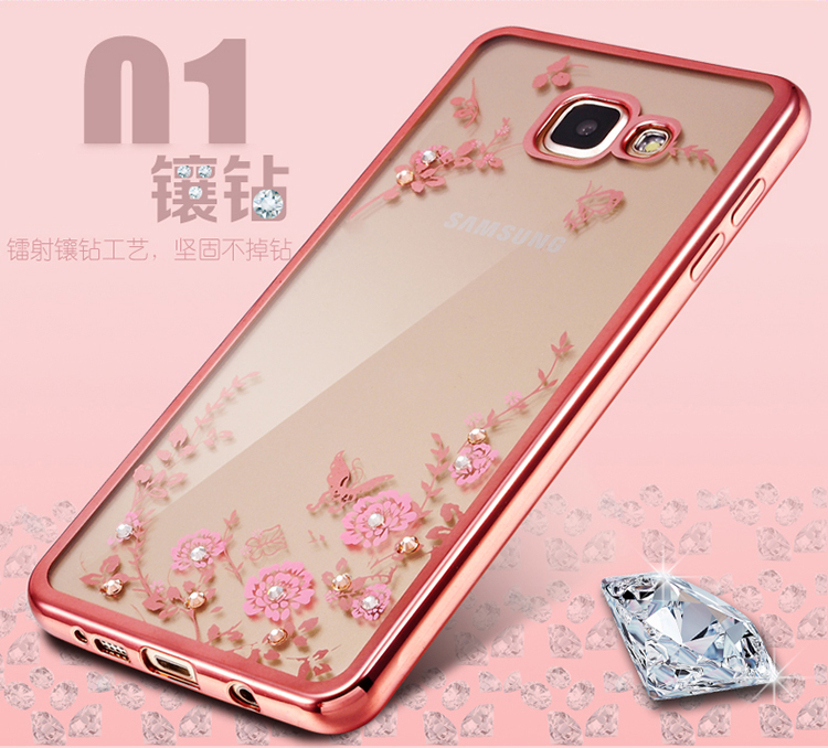 Frame Clear Case Cover For Samsung Galaxy A3 A5 A7 2016 2015 J3 J5 J7 Grand Prime S4 S5 S6 S7 edge Flower Diamonds Soft Cases