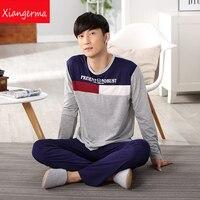 Men S Hedging Pajamas Spring Autumn Male Pyjama Modal Home Sleepwear Long Sleeve O Neck Pullover