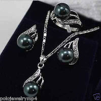 Women S Cospay Women S Hair Full Wigs Jewelry Black Pearl Bow Pendant Necklace Earring Set