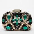 Diseño de marca de moda de lujo gema verde diamante lentejuelas partido banquete de la noche bolsa de embrague bolso de hombro de la cadena bolso de las señoras monedero