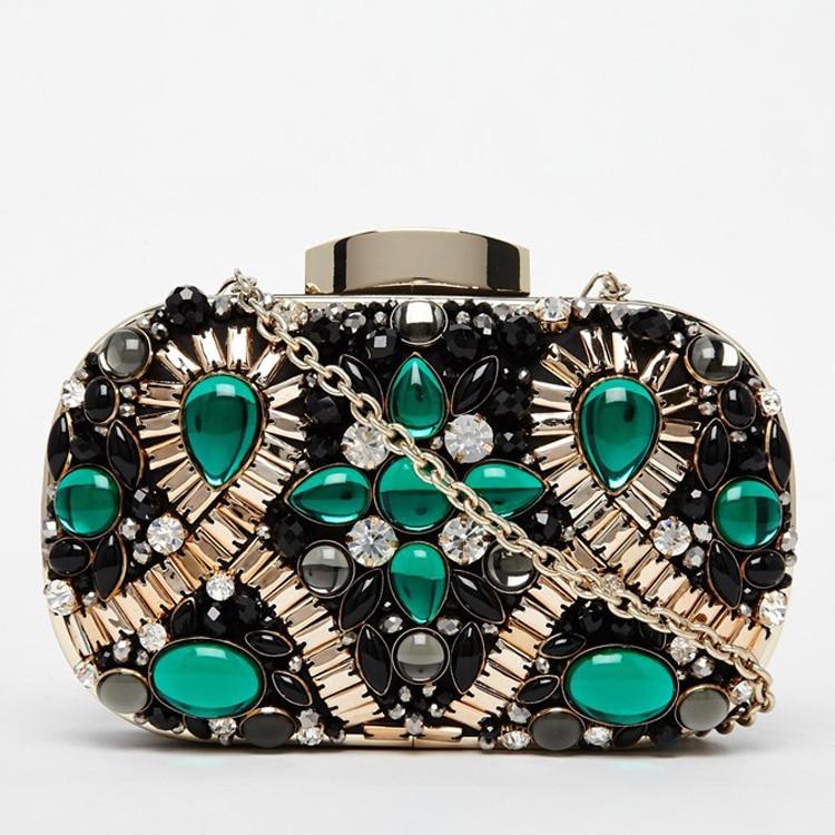Luxury fashion brand design green gem diamond sequined party banquet evening bag clutch handbag chain shoulder bag ladies purse