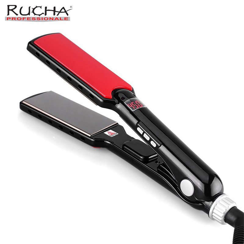 Wide Plates 470F High Temperature Hair Straightener Flat Iron MCH q Professional Straightening Iron mch flexible 3d floating ceramic wide plates flat iron far infrared hair straightener straightening curling with negative ions