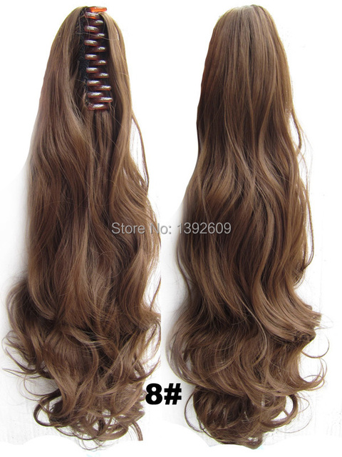 60cm150g Double Usage Synthetic Hair Curly Clip Ponytails Pony Tail