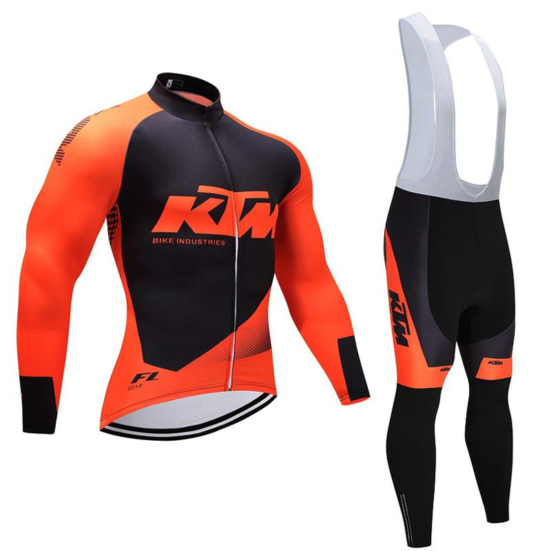 KTM Spring cycling jersey set ropa ciclismo Long sleeve MTB bike cycling clothing bicycle Breathable Shirts men Bib trousers C11 cheji men original camouflage green cycling jersey mtb outdoor breathable bike short sleeve clothing bicycle jersey s 3xl