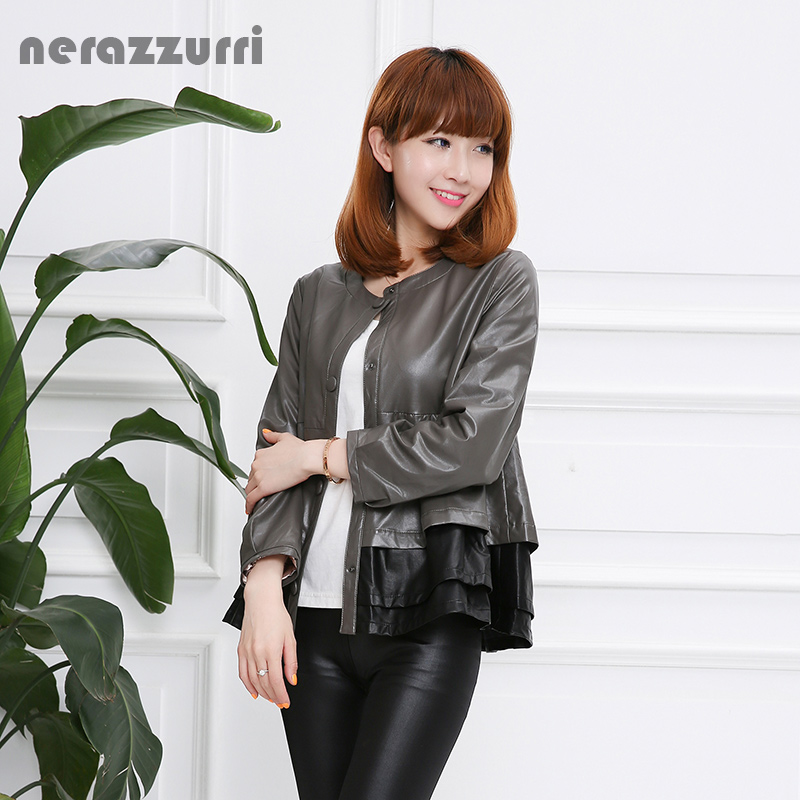 Nerazzurri Faux   Leather   Jacket Women Black and Red Contrast Color O Neck Slim Pleated Soft Fashion Short Spring Autumn Pu coat
