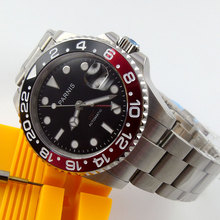 Luxury Brand 40mm Parnis Black Dial GMT Luminous Hands Sapphire Glass SS Case & Red Bezel Automatic Movement Mens Watch