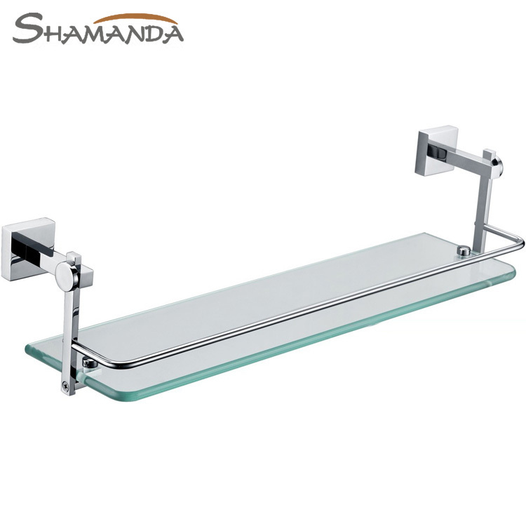 New Free Shipping Single Bathroom Shelf solid Made Base+glass dresser Shelf bathroom Products bathroom Accessories-86011 free shipping golden single bathroom shelf glass shelf brass made base glass shelf bathroom hardware bathroom accessories 67011
