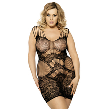 Womens Sexy Intimates Full Slips Lingerie Hollow Out See Through Underwear Black Lace Fishnet bodystocking Nightie Dress