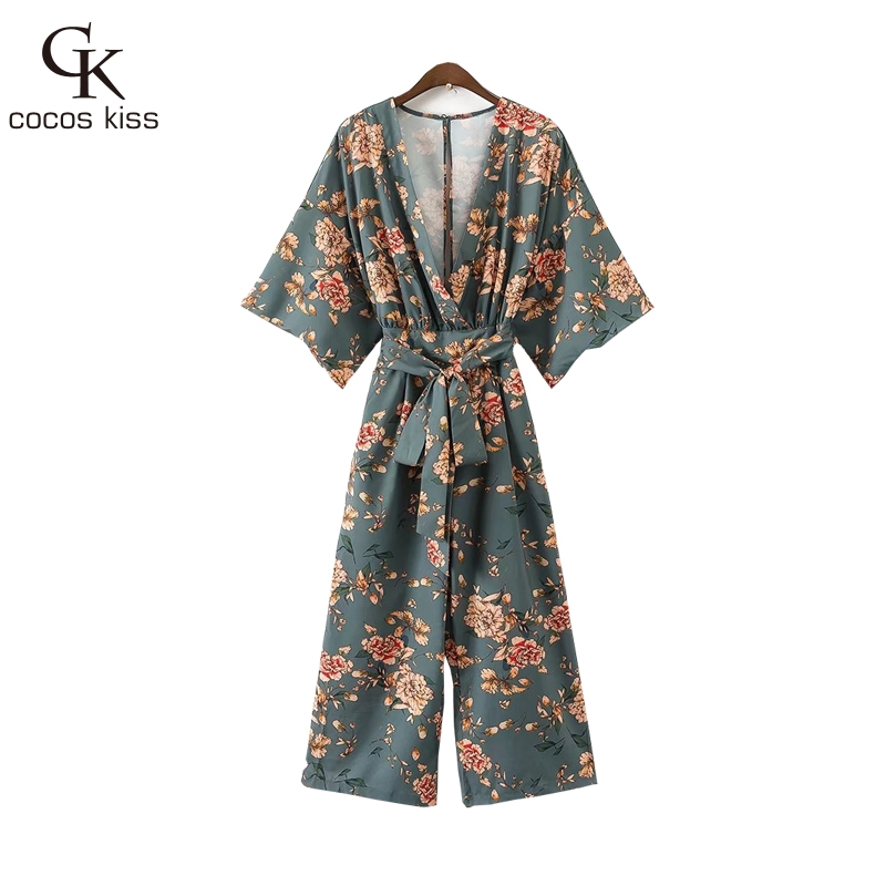 2017 New Autumn Womens Japan Style Sashes Green Print Flower Jumpsuit Long Straight Botton Gentle Nice Ladies Bodysuits