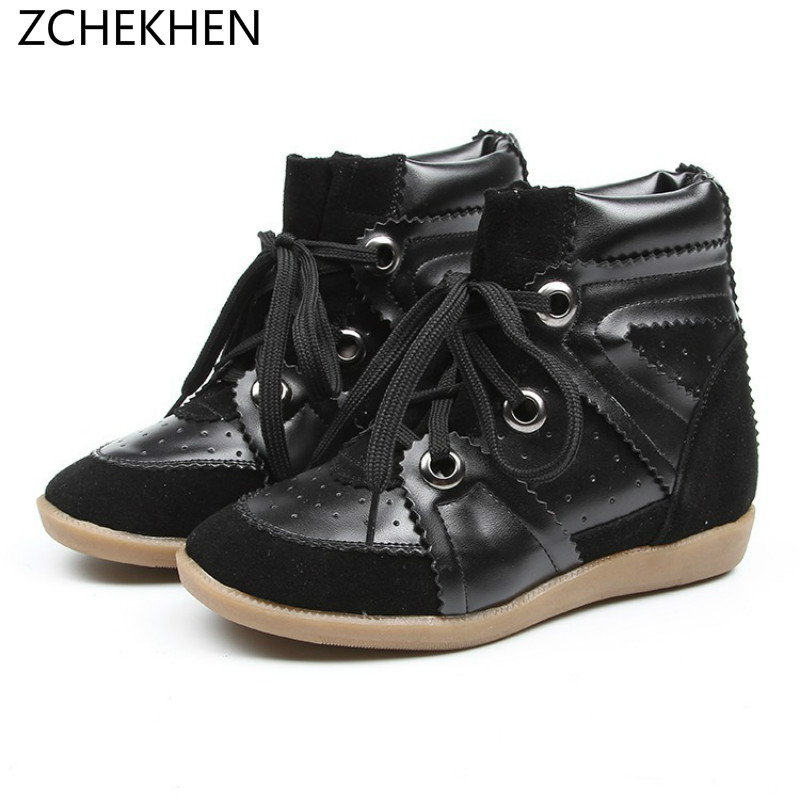 Cow suede Hidden Wedge Heels sneakers Casual Shoes Woman martin Platform boots height increase Tenis Feminino Chaussure Femme hidden wedge platform fuzzy boots