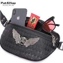 Pat&Hap Leather Rock Style Tough Guy Fanny Packs Men Tough Guy Waist Pack Black Belt Bags Hip-hop Waist Bag Chest Bag