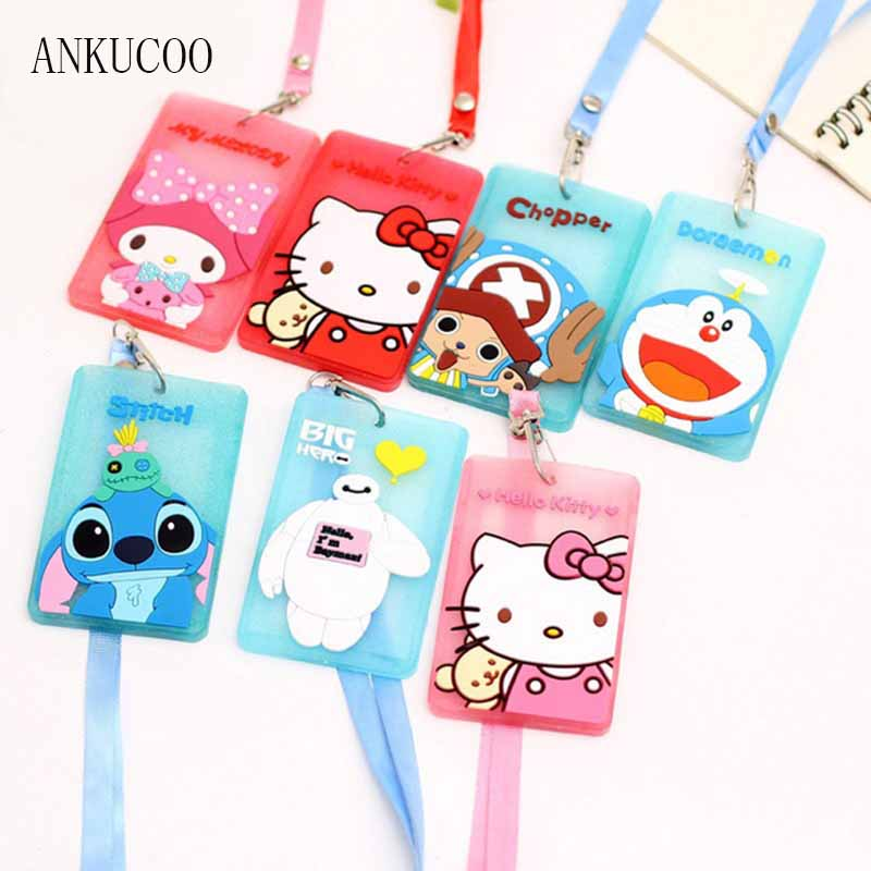 Cartoon Cute Chi's Stitch Hello Kitty Bank Credit Card Holders Unisex PVC Neck Strap Card Bus ID Holders Identity Badge Lanyard hot portable silicone bus card case holder cute cartoon kitty cat care student id identity badge credit cards cover with lanyard