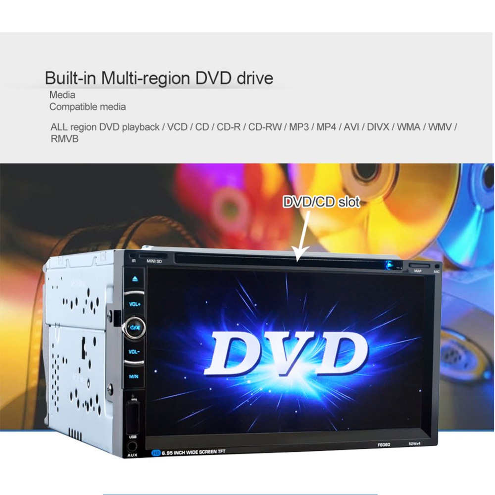 Car Styling Radio Universal 7in Double 2Din 800 * 480 Without GPS DVD Car Audio Car Stereo Auto USB Bluetooth Radio FM 45W*4 NEW free shipping car refitting dvd frame dvd panel dash kit fascia radio frame audio frame for 2012 kia k3 2din chinese ca1016