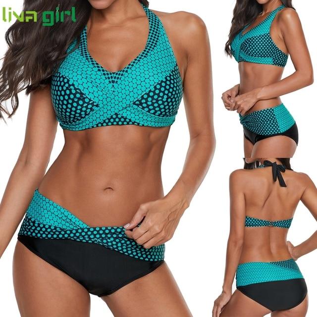 Liva girl Polka Dots Bikinis Set Sexy Swimsuit Push Up Brazilian Bikini Suits Female Swimming Bikini Maillot De Bain Plus Size