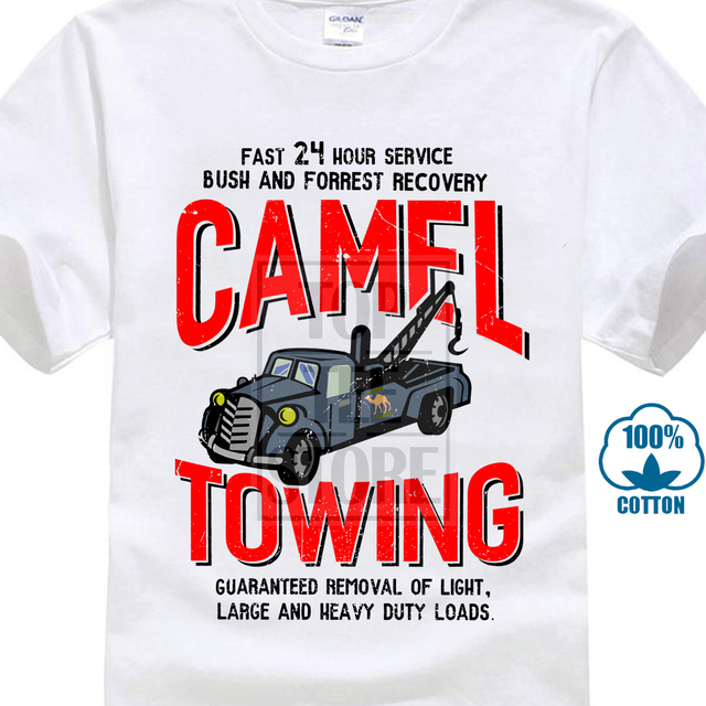 bbab1b76b Vintage Tee Shirts Camel Towing Vintage Mechanic Tow Truck Recovery Heavy  Load Printed T Shirt Cool Tops High Quality Casual Tee