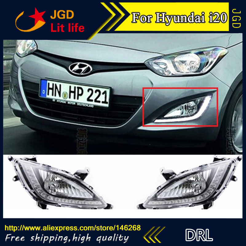 Free shipping ! 12V 6000k LED DRL Daytime running light for Hyundai I20 2012 2013 fog lamp frame Fog light Car styling  набор инструмента hyundai k 20