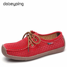 dobeyping Breathable Cut-Outs Summer Shoes Woman Lace Up Women Sneakers Genuine Leather Womens Loafers Moccasins Female Shoe