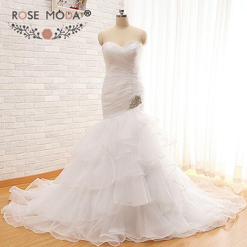 Rose Moda Organza Mermaid Wedding Dress 2019 Crystal