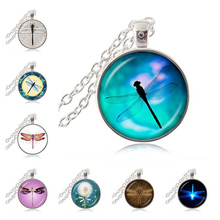 Dragonfly Pendant Necklace Nature Animal Insect Jewelry Chain Sweater Necklace Cabochon Neckless Women Engagement Accessoris HZ1