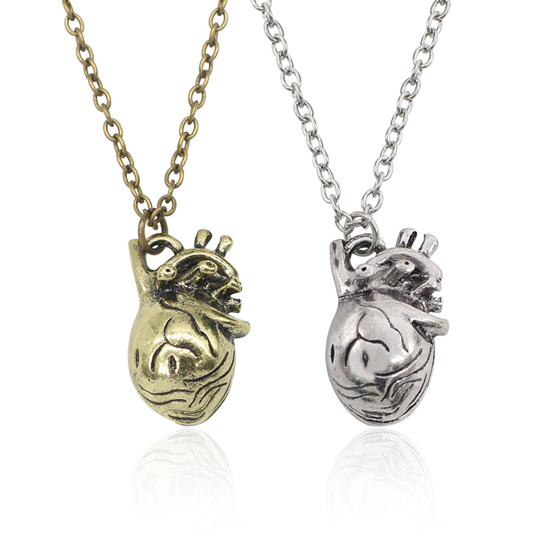Fashion Anatomy Of Hollow Organ Heart Pendant Necklace Vintage Healthy Heart Necklaces Fashion Unisex Jewelry Drop Shipping