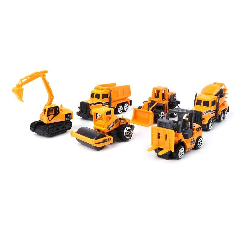6pcs Mini Diecast Alloy Construction Car Truck Engineering Dump Model Toys Set
