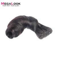 Megalook синтетические волосы на кружеве синтетическое закрытие волос с пучками бразильский весна Curl Remy натуральные волосы 3 Связки 13X4 беспл