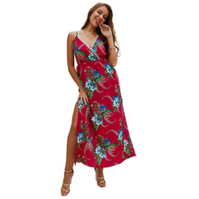 купить Casual Vintage Sundress Women Summer Dress Boho Sexy Dress Midi Button Backless Polka Dot Striped Floral Beach Dress Female N20D дешево