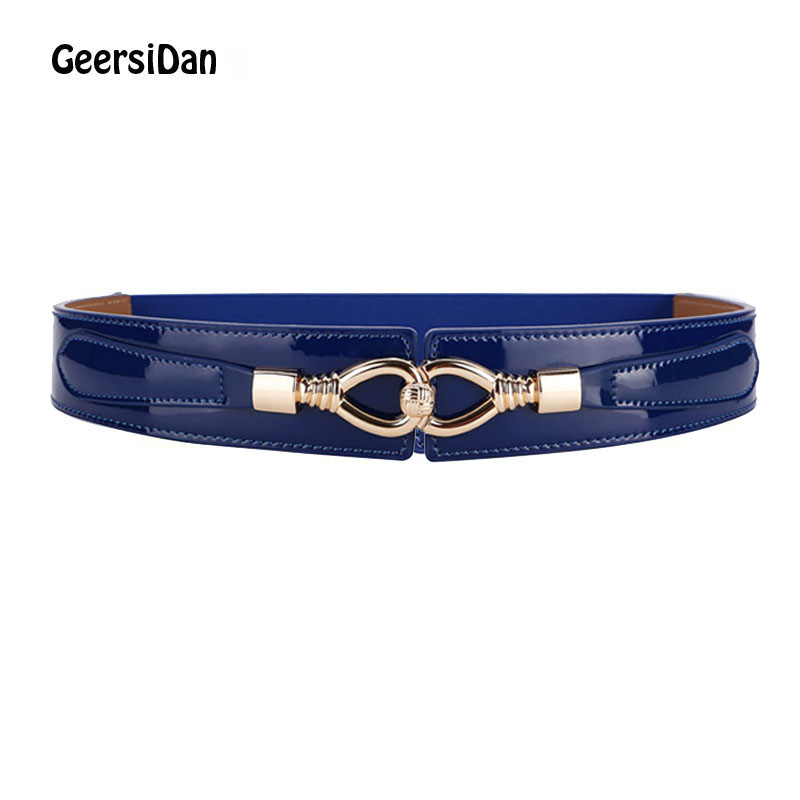 GEERSIDAN 2018 New Boho Belt For Women Elastic Paint Surface Leather Cinch Waistband Black Cummerbund Blue Women Waist Seal Belt