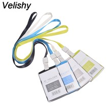 Velishy 1PC Plastic Passport Cover with Colorful Nack Lanyard Name Badge Card Case Business Card Holder Card Bag Company(China)