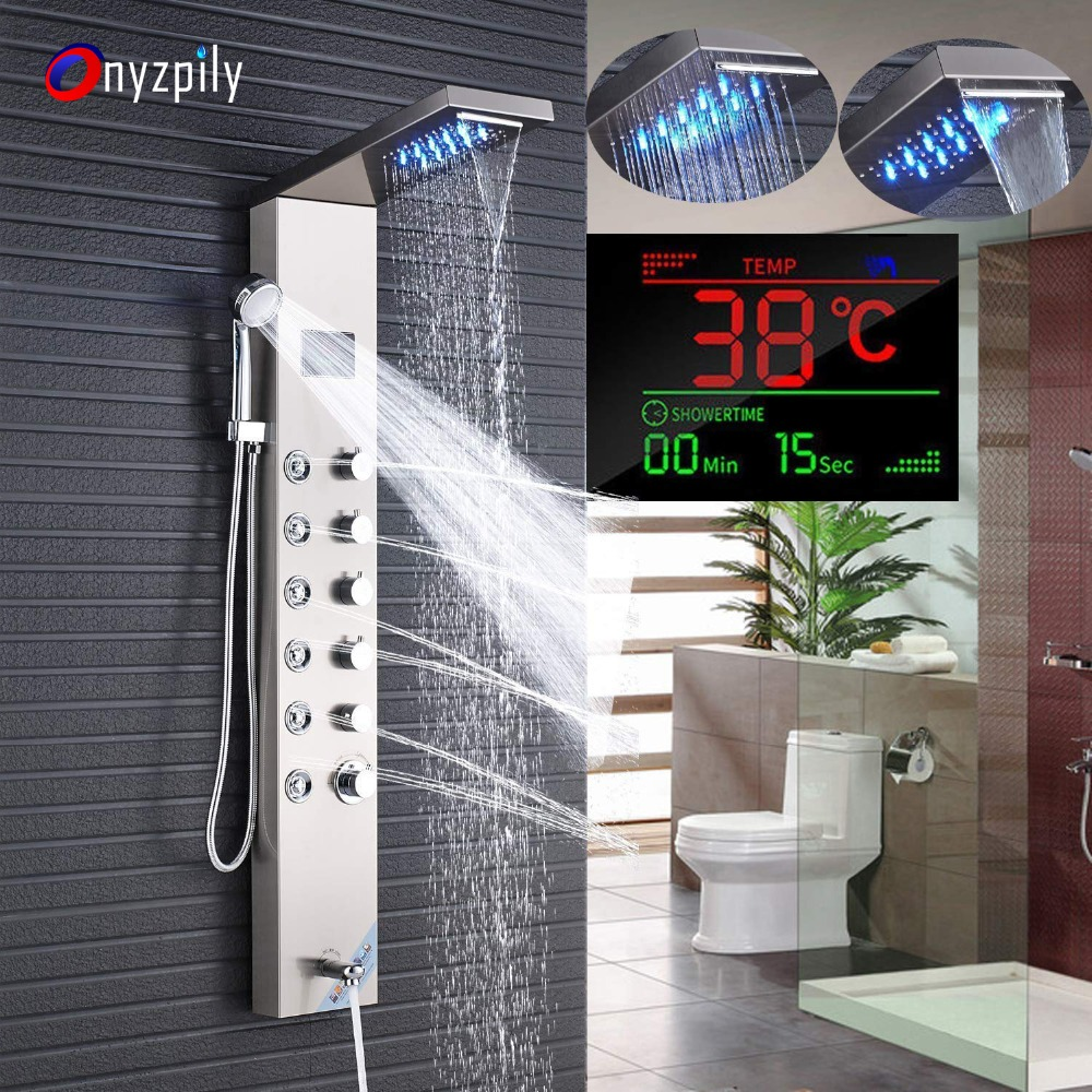 Shower Faucets Newly Luxury Black/brushed Bathroom Shower Faucet Led Shower Panel Column Bathtub Mixer Tap With Hand Shower Temperature Screen To Produce An Effect Toward Clear Vision