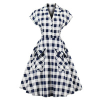 Women vintage dress 1950 S navy blue plaid Elegant lines retro dresses with short sleeves Pocket Cotton evening vintage dress