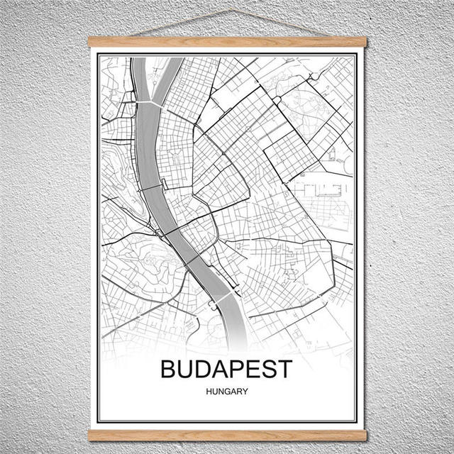 With Frame World City Map Budapest Oil Painting Modern Poster Canvas