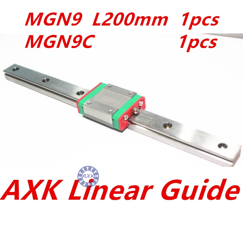 1pc 9mm width linear guide rail 200mm MGN9 +  1pc MGN MGN9C Blocks carriage for CNC thk interchangeable linear guide 1pc trh25 l 900mm linear rail 2pcs trh25b linear carriage blocks