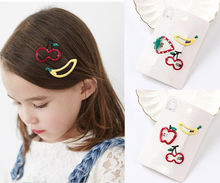 3Pcs Kids Infant Baby Girl Hair Clip Cartoon Fruits Hairclip Hairpin Set 2018 hot children's fruit hair clips(China)