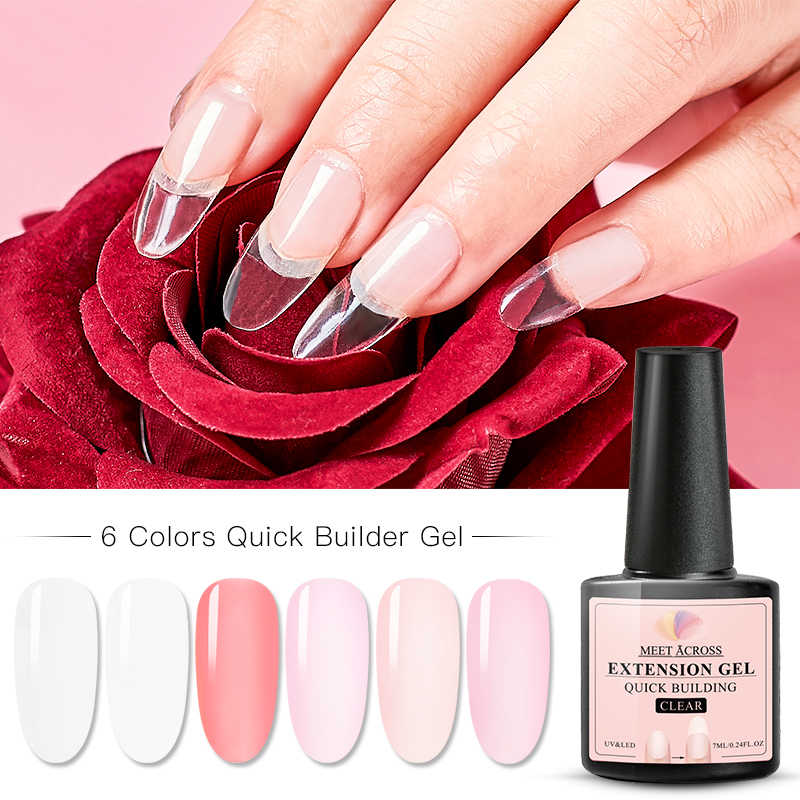 VOLDOEN OVER Quick Extension Gel Roze Acryl Poly UV Gel Manicure Losweken Crystal Jelly Met Glasvezel Extension Tool