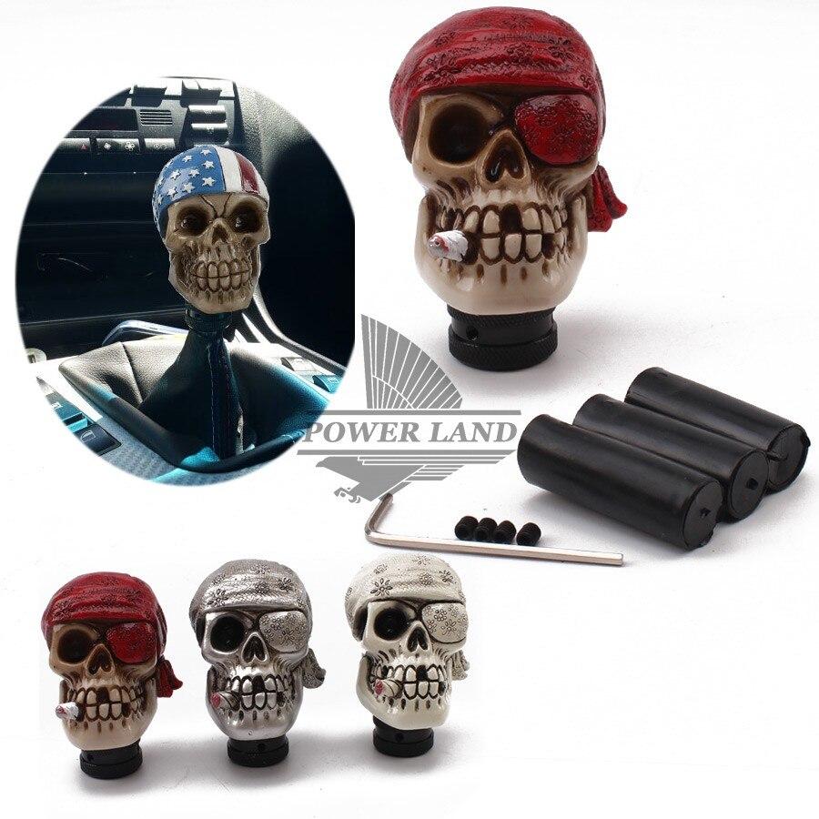 Vehicle Pirate Skull Style Car Gear Knob Handles Gear Shift Knob Manual Shifter Shift Lever Knob Handbrake Covers 4colors