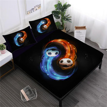 Tai Chi Football Sheet Set 3D Bed Flat Deep Pocket Fitted Twin Full King Queen Bedding Pillowcase D35