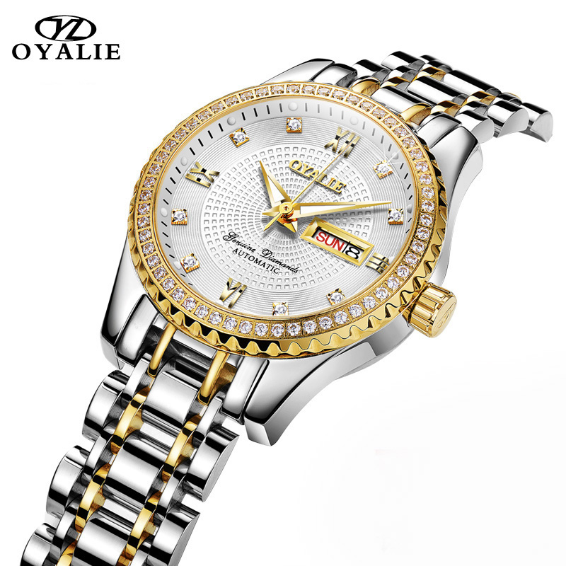 OYALIE Top Brand Luxury Ladies Mechanical Wristwatch Automatic Gold Dial Week/Date Women Watches Luminous Diamond Watch Clocks oyalie big face automatic watches male luxury gold dial men mechanical wristwatches top brand leather strap man s clocks watch