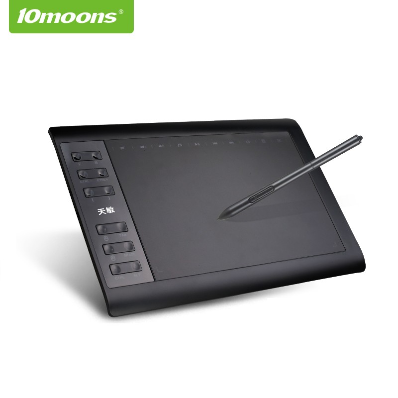 10moons 1060Plus Graphic tablet 10x6 Inch Designer Digital Drawing Tablet 8192 Levels Battery Free Pen With
