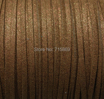 Free Ship  100 Meters 10mm x 1.5mm Metallic Brown  Flat Faux Suede Leather Cord For Necklace and Bracelet