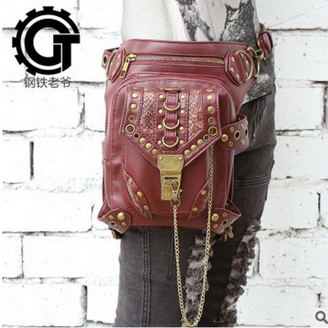 HOT SELLING Women Vintage Steam Punk Gothic Waist Shoulder Bag Rock Leg Holster Bag