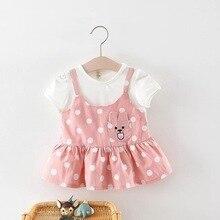 BNWIGE 0-24M Baby Girls Dress Summer Newborn Infant Dress Cotton Dot Print Baby Girl Clothes Cartoon Bow Party Princess Dress