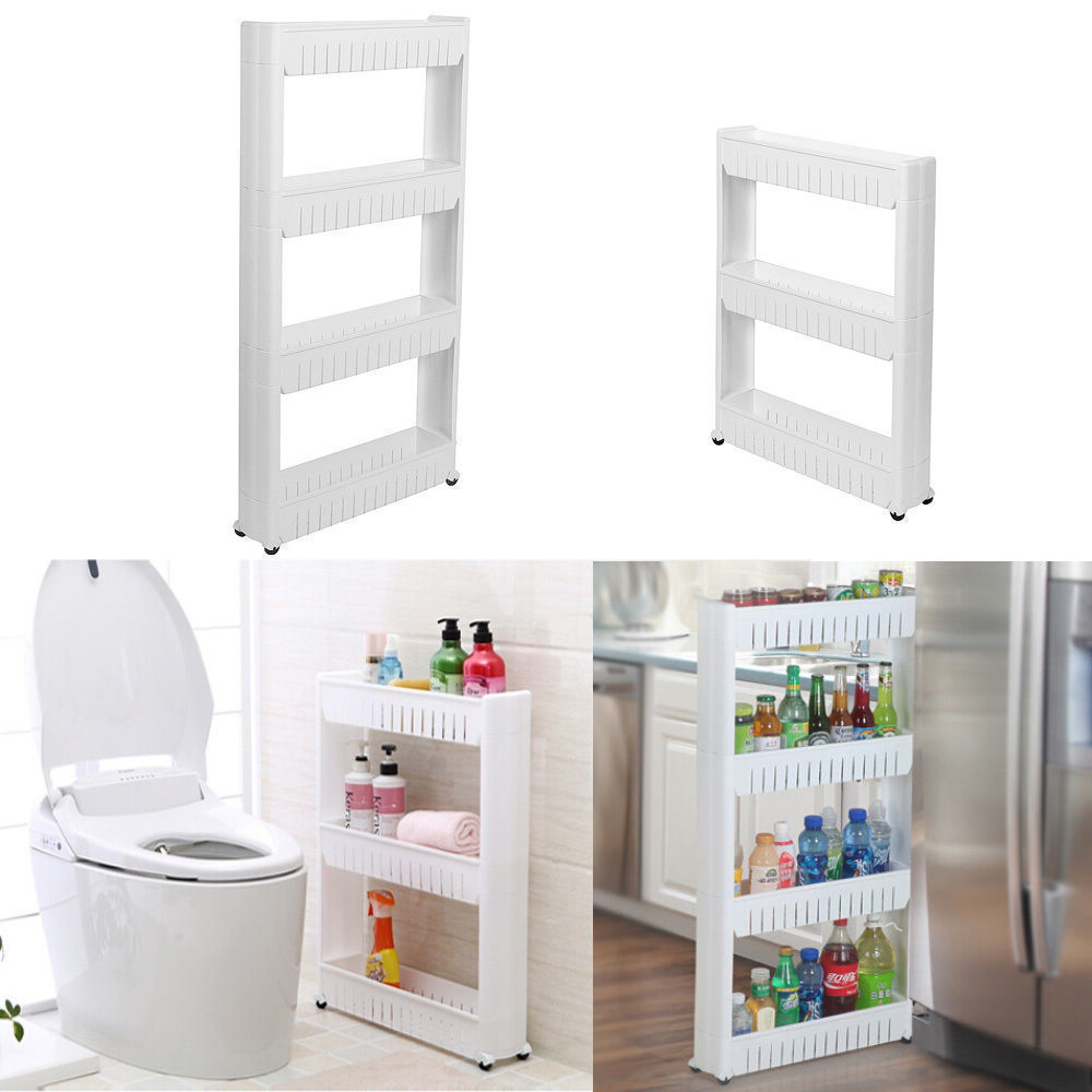 Estante de almacenamiento baño cocina de 3/4 capas, Torre deslizante, estantería desplazable, rueda giratoria, carrito Estante de baño Sokoltec hw47885wh