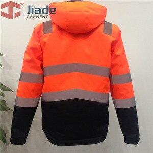 Image 2 - Высокая видимость Защитная куртка бомбер оранжевый Зимняя Светоотражающая водонепроницаемая куртка Рабочая одежда размера плюс