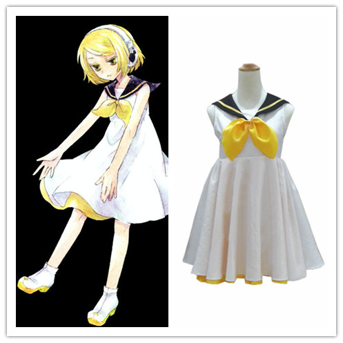 VOCALOID2 Cosplay Costume GUMI White Mix Green Formal Dress Full Set