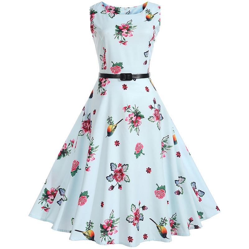 SHE FSHION HOME Women print dresses 50S 60S retro Hepburn wind round neck waist print big swing dress belt women party party dress